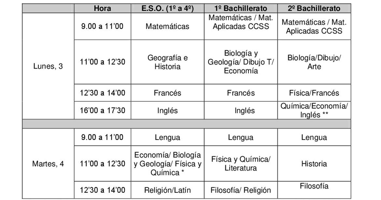 Calendario De Examenes.Calendario De Examenes De Septiembre Colegio Guadalimar